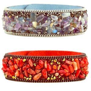 Jewelry - Coral/amethyst leather bracelets